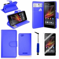 Sony Xperia SP M35h C5302 C5303 C5306: Etui portefeuille Support Video cuir PU + mini Stylet - BLEU FONCE
