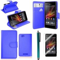 Sony Xperia SP M35h C5302 C5303 C5306: Etui portefeuille Support Video cuir PU + Stylet - BLEU FONCE