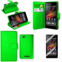 Sony Xperia SP M35h C5302 C5303 C5306: Etui portefeuille Support Video cuir PU - VERT