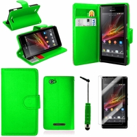 Sony Xperia SP M35h C5302 C5303 C5306: Etui portefeuille Support Video cuir PU + mini Stylet - VERT