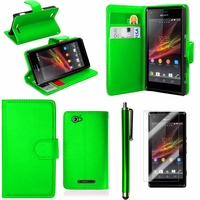 Sony Xperia SP M35h C5302 C5303 C5306: Etui portefeuille Support Video cuir PU + Stylet - VERT