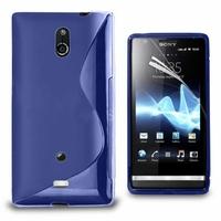 Sony Xperia T Lt30p/ LTE/ LT30a/ LT30at: Coque silicone Gel motif S au dos - BLEU