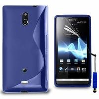Sony Xperia T Lt30p/ LTE/ LT30a/ LT30at: Coque silicone Gel motif S au dos + mini Stylet - BLEU