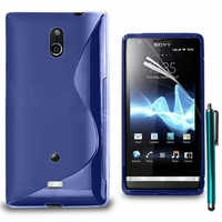 Sony Xperia T Lt30p/ LTE/ LT30a/ LT30at: Coque silicone Gel motif S au dos + Stylet - BLEU