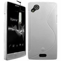Sony Xperia Arc X12 Lt15i LT15a/ Arc S LT18i LT18a: Coque silicone Gel motif S au dos + mini Stylet - TRANSPARENT