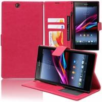 Sony Xperia Z Ultra XL39H C6802/ LTE C6806 C6833: Etui portefeuille Support Video cuir PU - ROSE