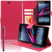 Sony Xperia Z Ultra XL39H C6802/ LTE C6806 C6833: Etui portefeuille Support Video cuir PU + Stylet - ROSE