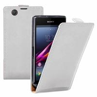 Sony Xperia Z Ultra XL39H C6802/ LTE C6806 C6833: Etui Rabattable Verticale en cuir PU - BLANC