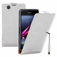 Sony Xperia Z Ultra XL39H C6802/ LTE C6806 C6833: Etui Rabattable Verticale en cuir PU + mini Stylet - BLANC