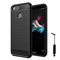 """Huawei Honor 7X 5.93"""" BND-L21/ L22/ L24/ AL10/ TL10: Coque Silicone TPU Fibre de Carbone Brossé + mini Stylet - NOIR"""