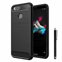 """Huawei Honor 7X 5.93"""" BND-L21/ L22/ L24/ AL10/ TL10: Coque Silicone TPU Fibre de Carbone Brossé + Stylet - NOIR"""