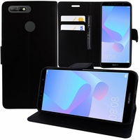 """Huawei Y6 (2018) 5.7"""" (non compatible Huawei Y6 (2017) 5.0""""): Etui portefeuille Support Video cuir PU - NOIR"""
