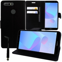 """Huawei Y6 (2018) 5.7"""" (non compatible Huawei Y6 (2017) 5.0""""): Etui portefeuille Support Video cuir PU + mini Stylet - NOIR"""