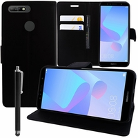 """Huawei Y6 (2018) 5.7"""" (non compatible Huawei Y6 (2017) 5.0""""): Etui portefeuille Support Video cuir PU + Stylet - NOIR"""