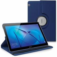 "Huawei MediaPad T3 10 (9.6"") AGS-L09/ AGS-W09/ AGS-L03: Etui Cuir PU Support Rotatif 360° - BLEU FONCE"