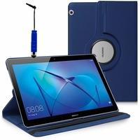 "Huawei MediaPad T3 10 (9.6"") AGS-L09/ AGS-W09/ AGS-L03: Etui Cuir PU Support Rotatif 360° + mini Stylet - BLEU FONCE"