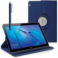 "Huawei MediaPad T3 10 (9.6"") AGS-L09/ AGS-W09/ AGS-L03: Etui Cuir PU Support Rotatif 360° + Stylet - BLEU FONCE"