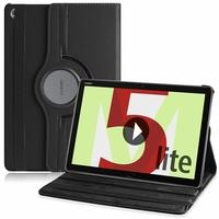 "Huawei MediaPad M5 Lite 10.1"" BAH2-L09/ BAH2-W09/ BAH2-W19 (non compatible MediaPad M5 10 10.8""): Etui Cuir PU Support Rotatif 360° - NOIR"