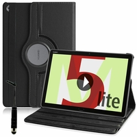 "Huawei MediaPad M5 Lite 10.1"" BAH2-L09/ BAH2-W09/ BAH2-W19 (non compatible MediaPad M5 10 10.8""): Etui Cuir PU Support Rotatif 360° + mini Stylet - NOIR"