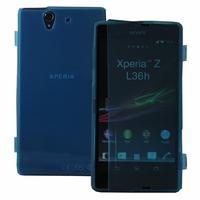 Sony Xperia Z LTE L36h C6602 C6603: Coque Silicone gel Livre rabat - BLEU