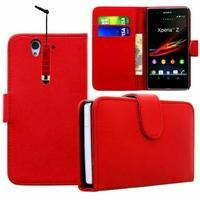 Sony Xperia Z LTE L36h C6602 C6603: Etui portefeuille Livre Housse Coque Pochette cuir PU + mini Stylet - ROUGE