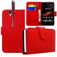 Sony Xperia Z LTE L36h C6602 C6603: Etui portefeuille Livre Housse Coque Pochette cuir PU + Stylet - ROUGE