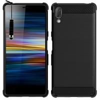 """Sony Xperia L3 5.7"""" I3312 I4312 I4332 I3322 [Les Dimensions EXACTES du telephone: 154 x 72 x 8.9 mm]: Coque Silicone TPU Fibre de Carbone Brossé + mini Stylet - NOIR"""