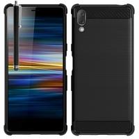 """Sony Xperia L3 5.7"""" I3312 I4312 I4332 I3322 [Les Dimensions EXACTES du telephone: 154 x 72 x 8.9 mm]: Coque Silicone TPU Fibre de Carbone Brossé + Stylet - NOIR"""