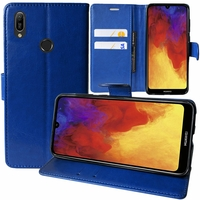 "Huawei Y6 (2019)/ Y6 Prime (2019) 6.09"" (non compatible Huawei Y6 (2017)/ Y6 (2018)) [Les Dimensions EXACTES du telephone: 156.3 x 73.5 x 8 mm]: Etui portefeuille Support Video cuir PU - BLEU FONCE"