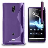 Sony Xperia T Lt30p/ LTE/ LT30a/ LT30at: Coque silicone Gel motif S au dos + Stylet - VIOLET