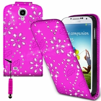 Samsung Galaxy S4 i9500/ i9505/ Value Edition I9515: Etui Housse Coque ultra fin avec strass + mini Stylet - ROSE