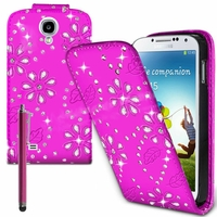 Samsung Galaxy S4 i9500/ i9505/ Value Edition I9515: Etui Housse Coque ultra fin avec strass + Stylet - ROSE
