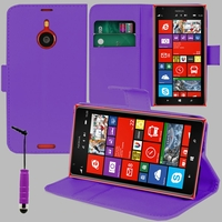 Nokia Lumia 1520/ RM-937/ RM-938/ RM-939/ RM-940: Etui portefeuille Support Video cuir PU + mini Stylet - VIOLET