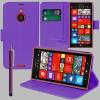 Nokia Lumia 1520/ RM-937/ RM-938/ RM-939/ RM-940: Etui portefeuille Support Video cuir PU + Stylet - VIOLET