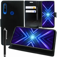 "Huawei Honor 9X/ 9X Pro/ 9X Premium 6.59"" (non compatible Honor 9/ 9 Premium 5.15""): Etui portefeuille Support Video cuir PU + Stylet - NOIR"