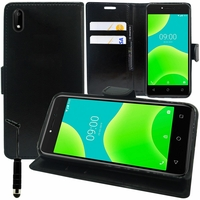 """Wiko Sunny 4 5.0"""" (non compatible Wiko Sunny 4 Plus 5.45""""): Etui portefeuille Support Video cuir PU + mini Stylet - NOIR"""