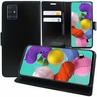 "Samsung Galaxy A51 6.5"" SM-A515F, A515FN, A515GN, A515FM, A515YN, A515W, A515X, A515F/DSN: Etui portefeuille Support Video cuir PU - NOIR"