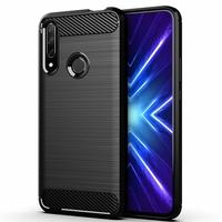 "Huawei Honor 9X/ 9X Pro/ 9X Premium 6.59"" (non compatible Honor 9/ 9 Premium 5.15""): Coque Silicone TPU Fibre de Carbone Brossé - NOIR"