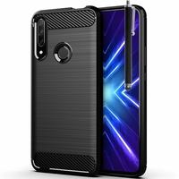 """Huawei Honor 9X/ 9X Pro/ 9X Premium 6.59"""" (non compatible Honor 9/ 9 Premium 5.15""""): Coque Silicone TPU Fibre de Carbone Brossé + Stylet - NOIR"""