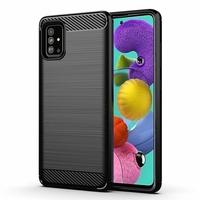 """Samsung Galaxy A51 6.5"""" SM-A515F, A515FN, A515GN, A515FM, A515YN, A515W, A515X, A515F/DSN: Coque Silicone TPU Fibre de Carbone Brossé - NOIR"""