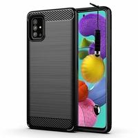 "Samsung Galaxy A51 6.5"" SM-A515F, A515FN, A515GN, A515FM, A515YN, A515W, A515X, A515F/DSN: Coque Silicone TPU Fibre de Carbone Brossé + mini Stylet - NOIR"