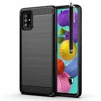 "Samsung Galaxy A51 6.5"" SM-A515F, A515FN, A515GN, A515FM, A515YN, A515W, A515X, A515F/DSN: Coque Silicone TPU Fibre de Carbone Brossé + Stylet - NOIR"