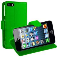 Apple iPhone 5/ 5S/ SE: Accessoire Etui portefeuille Livre Housse Coque Pochette support vidéo cuir PU - VERT