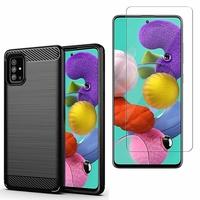 """Samsung Galaxy A51 6.5"""": Coque Housse Silicone Souple en Fibre de Carbone Brossé motif TPU Case - NOIR + 1 Film de protection d'écran Verre Trempé"""