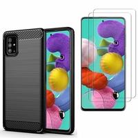 """Samsung Galaxy A51 6.5"""": Coque Housse Silicone Souple en Fibre de Carbone Brossé motif TPU Case - NOIR + 2 Films de protection d'écran Verre Trempé"""