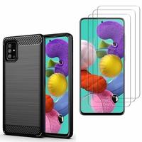 """Samsung Galaxy A51 6.5"""": Coque Housse Silicone Souple en Fibre de Carbone Brossé motif TPU Case - NOIR + 3 Films de protection d'écran Verre Trempé"""