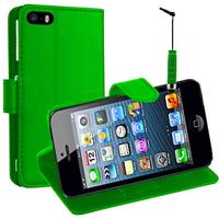 Apple iPhone 5/ 5S/ SE: Accessoire Etui portefeuille Livre Housse Coque Pochette support vidéo cuir PU + mini Stylet - VERT