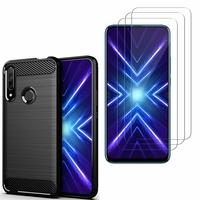 """Huawei Honor 9X/ 9X Pro/ 9X Premium 6.59"""": Coque Housse Silicone Souple en Fibre de Carbone Brossé motif TPU Case - NOIR + 3 Films de protection d'écran Verre Trempé"""