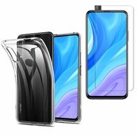 """Huawei Y9s (2019) 6.59"""": Etui Housse Pochette Accessoires Coque gel UltraSlim - TRANSPARENT + 1 Film de protection d'écran Verre Trempé"""
