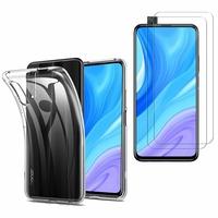 """Huawei Y9s (2019) 6.59"""": Etui Housse Pochette Accessoires Coque gel UltraSlim - TRANSPARENT + 2 Films de protection d'écran Verre Trempé"""